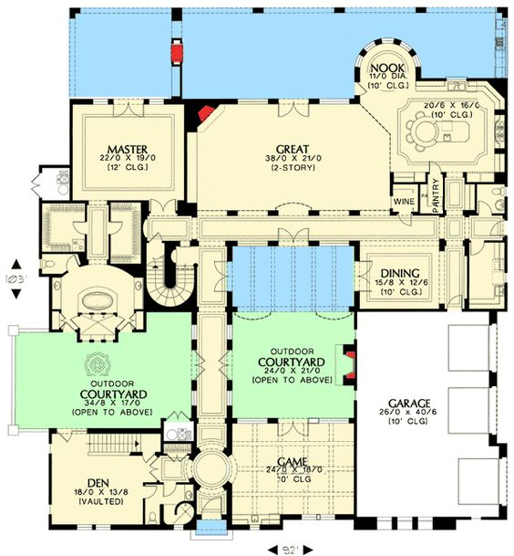 Plan 16377MD: Tuscan Home With Two Courtyards