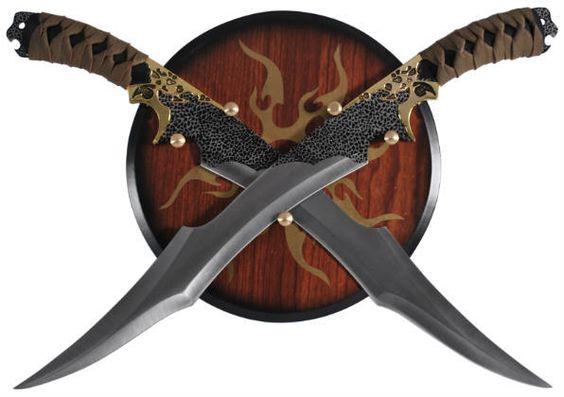 REAL SWORD MASTER - Legolas Elven Swords with Wooden Plaque Display Wall Hanger, $18.85 (http://www.realswordmaster.com/legolas-elven-swords-with-wooden-plaque-display-wall-hanger/)