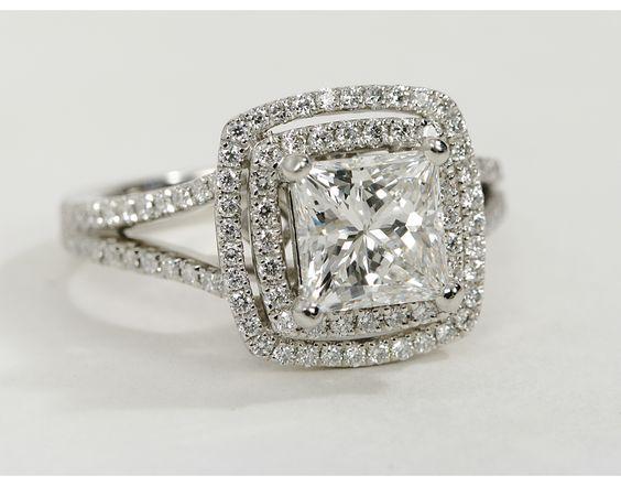 Monique Lhuillier Princess Cut Double Halo Diamond Engagement Ring in Platinu