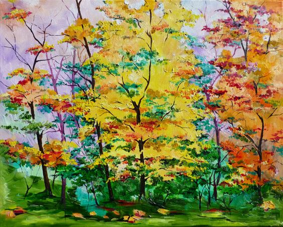 Beautiful Autumn Nature Painting Original Oil by ArteDiSvetlana, $83.00