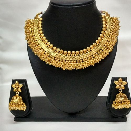 South Indian Traditional Gold Plated Golden Polki Necklace Set