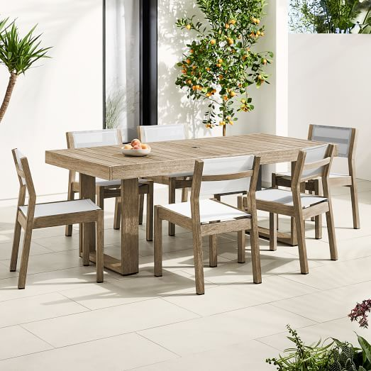 Portside Outdoor Expandable Dining Table Textilene Chairs Set Dining Table Expandable Dining Table Solid Wood Dining Chairs