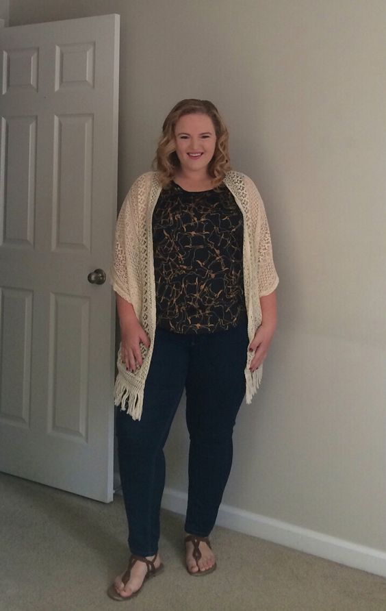 Business Casual Friday - black & tan print top, creme lace kimono, skinny jeans, and brown sandals