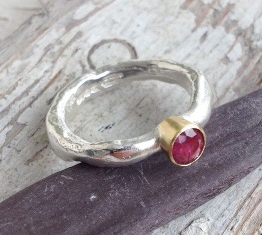 Handmade In Recycled Sterling Silver ***UK FREEPOST*** Rustic Wedding Ring Set