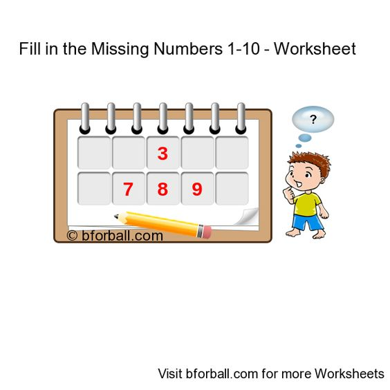 Fill in the Missing Numbers 1 to 10 - Worksheet for kids | Missing ...