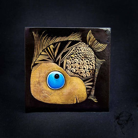 Small Hand Painted Unique Lacquer Trinket Jewellery Box by Xenia Hahonina / Funny Fish
