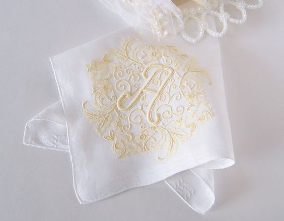 Wedding Handkerchief Monogrammed A in White by GreenbriarCreations