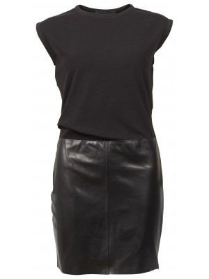 DRAPED DRESS WITH LEATHER SKIRT