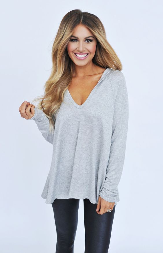 Grey Hooded V Top - Dottie Couture Boutique