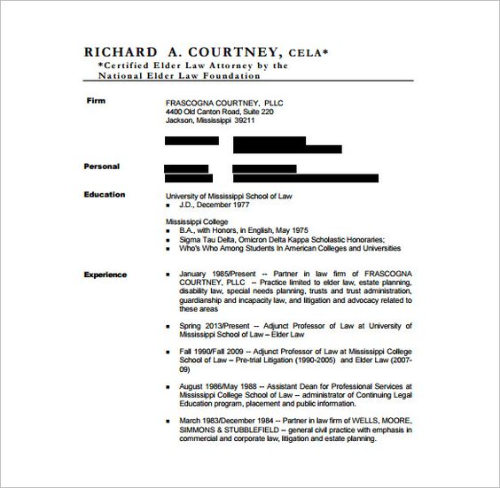 Lawyer Resume Template u2013 10+ Free Word, Excel, PDF Format Download - trademark attorney sample resume