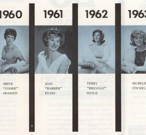 San Fernando Valley State College (SFVSC, now CSUN) Homecoming Queens, 1957-1963. Dorena Knepper Collection.