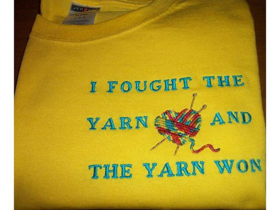 Embroidered T Shirt for Knitters  I Fought by MimiMakesMemories, $15.00