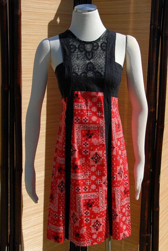 Dakota Dress Red Skull Bandanna Design with Black Lace by Jezenya