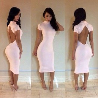 pink dress bodycon dress backless dress dress