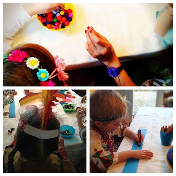 Collage: Indianerschmuck basteln, Ketten auffädeln, Kopfschmuck aus Tonpapier…