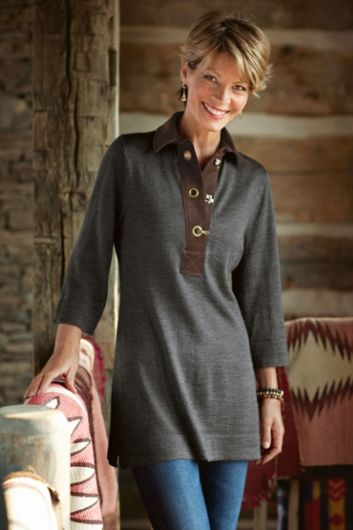 Chatsworth Tunic - Suede Collar Tunic, Ladies Tunic, Tunic Top | Soft Surroundings Outlet
