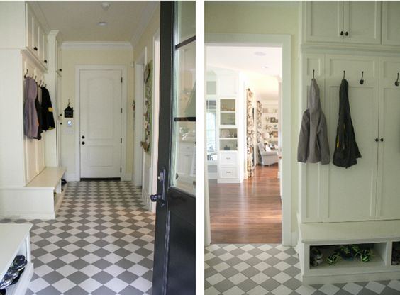 A home full of meaning jodi s house tour painted tiles for Mudroom flooring