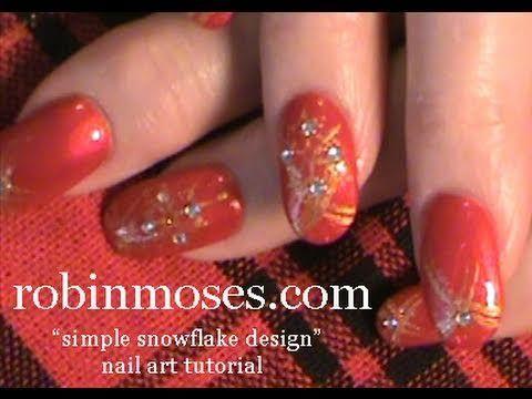 simple snowflake for short nails: robin moses nail art design tutorial