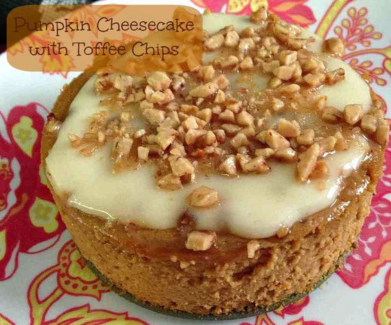 Pumpkin Cheesecake with Toffee Chips | 5DollarDinners.com