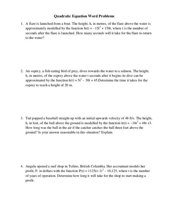Transformations of Quadratic Functions YouTube – Quadratic Function Word Problems Worksheet