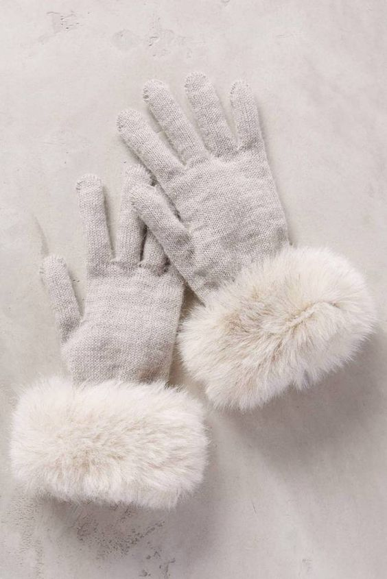 Nwt Anthropologie Faux-Fur Cuff Gloves ONE SIZE New Made in Italy #Anthropologie #EverydayGloves