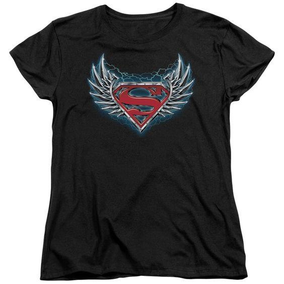 Superman/Steel Wings Logo Short Sleeve Women's Tee in
