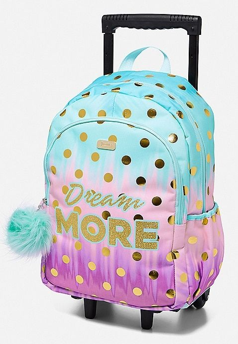 Dream More Ombre Floral Dot Rolling Backpack Justice Tween Girls Bags Girls Rolling Backpack Girls Bags