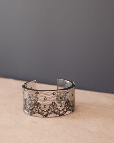 Cuff - Limited Edition Black Lace  A Limited Edition Cuff with a piece of very old lace between layers of acrylic commissioned especially for Nonesuchthings, by the wonderful Tamsin Howells. The cuff measures approximately 3 cm and is a regular fit for a small-medium wrist. #jewelry #cuff #bracelet #lace