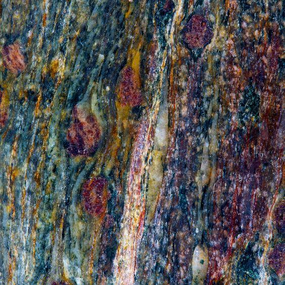 A garnet mica schist (Glen Sluan Schist) from near Clachan,   at the northeast end of Loch Fyne, Argyll and Bute, Scotland. Keele