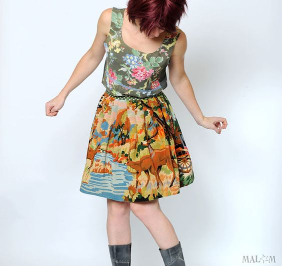 WINTER SALE Woodland skirt Upcycled vintage canvas by Malam