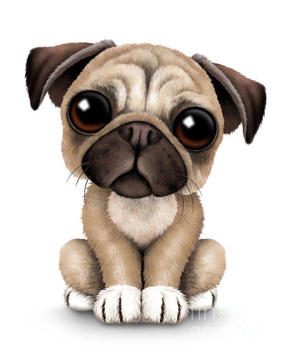 Cute Pug Puppy Dog By Jeff Bartels Cute Pug Puppies Pug Cartoon