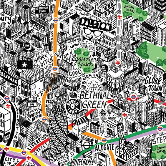Lovely hand-drawn map of London by Jenni Sparks: London Art, Hand Drawn Map, Amazing Map, London Map