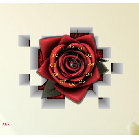 3D Wandtattoo Rose mit Uhr Wanduhr