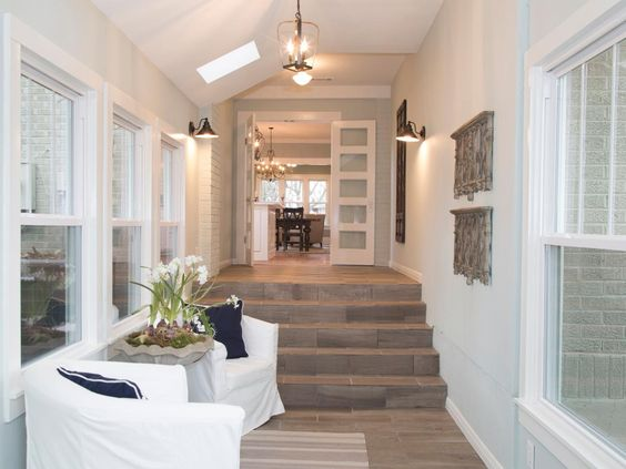 Breezeway fixer upper and calming paint colors on pinterest for Breezeway flooring ideas