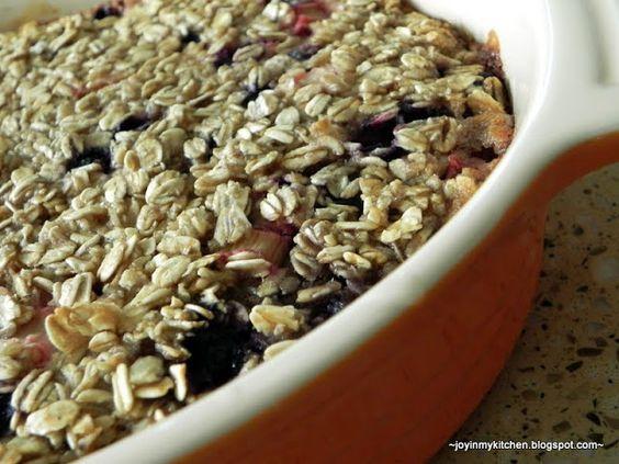 Blueberry Rhubarb Baked Oatmeal | Rhubarb | Pinterest | Blueberry ...