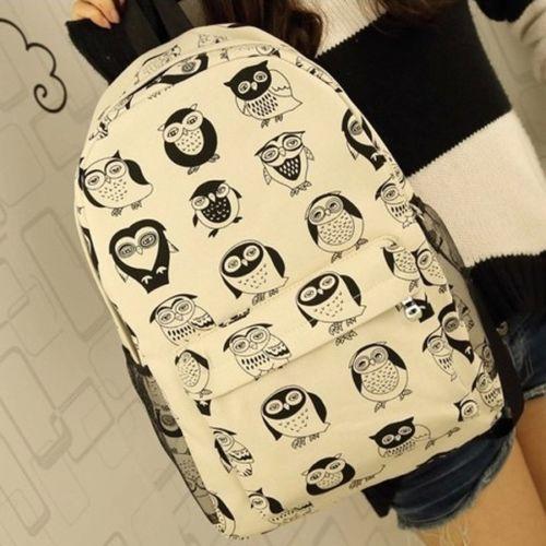 Fashion-Cute-Womens-Cartoon-Canvas-Travel-Satchel-Bookbag-Rucksack-Backpack
