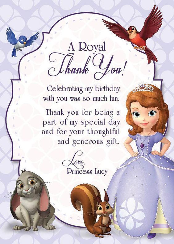 Sofia the First Thank You Card on Etsy, $10.00