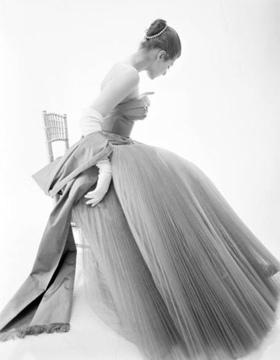 Fiona Campbell Walter wearing a Hardy Amies gown in 1953 by Norman Parkinson