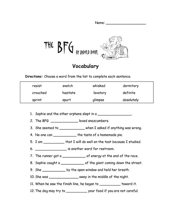 The BFG Worksheets | The BFG Vocabulary Worksheet | Education ...
