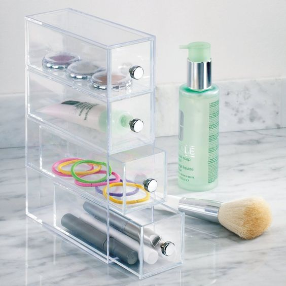 4 Drawer Organizer Tower Vanity Clear Acrylic Cabinet to Hold Makeup Beauty…