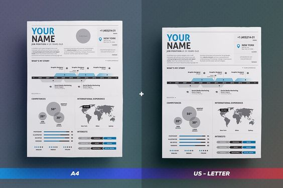 Get your Infographic Resume\/Cv Vol 2 in #A4 and US Letter - infographic resume creator