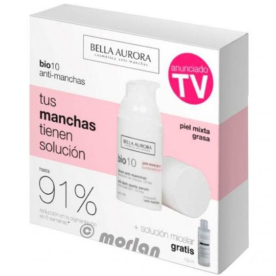 Bella Aurora Bio 10 Serum Anti-Manchas Tratamiento De Choque SPF15 Pieles Mixtas/Grasas, 30ml+ REGALO B Clean Agua Micelar Anti Manchas,150ml