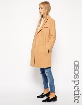 ASOS PETITE Exclusive Textured Coat with Contrast Collar - Camel