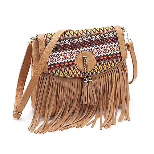 New Ladies Floral Print Tassel Charm Small Shoulder Handbag Pouch Messenger Bag