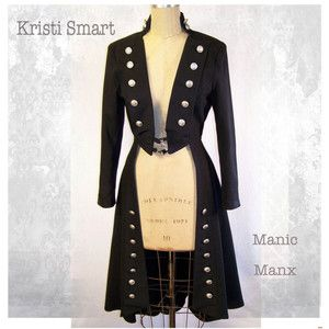 Womans Pirate steampunk fetish tail coat size small or medium petite
