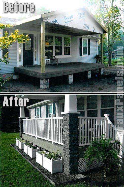 Norwich Colorado Stacked Stone Graphite Manufactured Home Porch Mobile Home Porch Home Porch