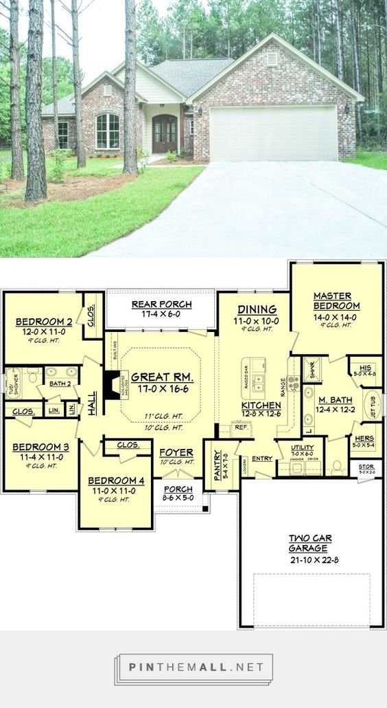 House Plan - 4 Beds 2 Baths 1798 Sq/Ft Plan #430-93 - created via https://pinthemall.net