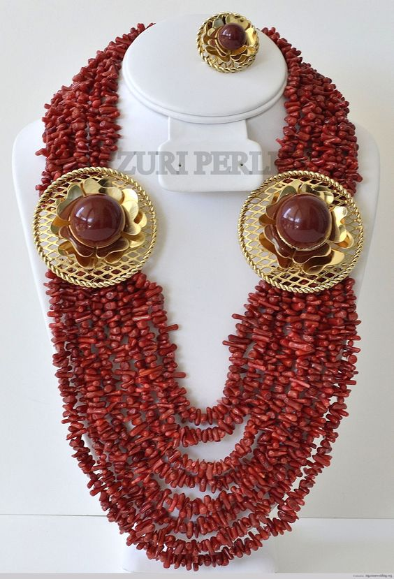 Zuripearlredcoralchipjewelry the nigerian wedding dress for Jewelry to wear with coral dress