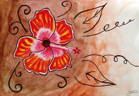 First I made a drawing and afterwords coloured it in with water colour paint. (was also to test my new paint)