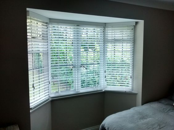 Wood Venetian Blinds Installed To A Bay Window In Haywards